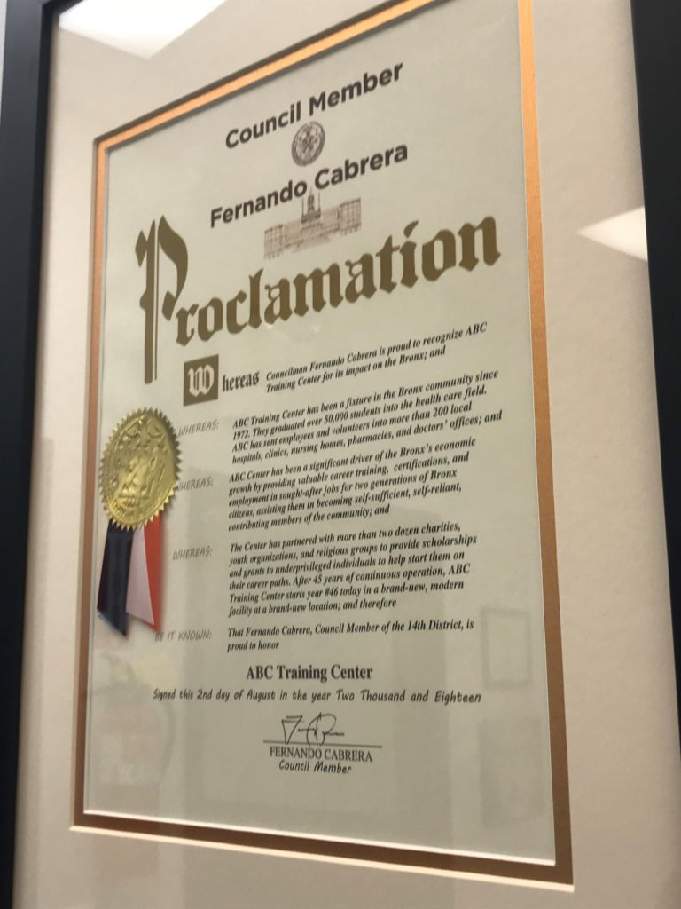 ABC Training Center honored by Council member Fernando Cabrera