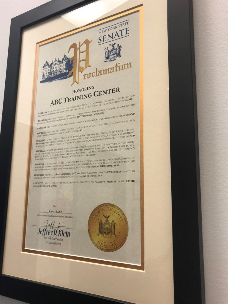 ABC Training Center honored by New York State Senate